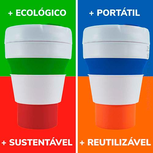 Copo Ecológico 350ml Pocket Dobrável