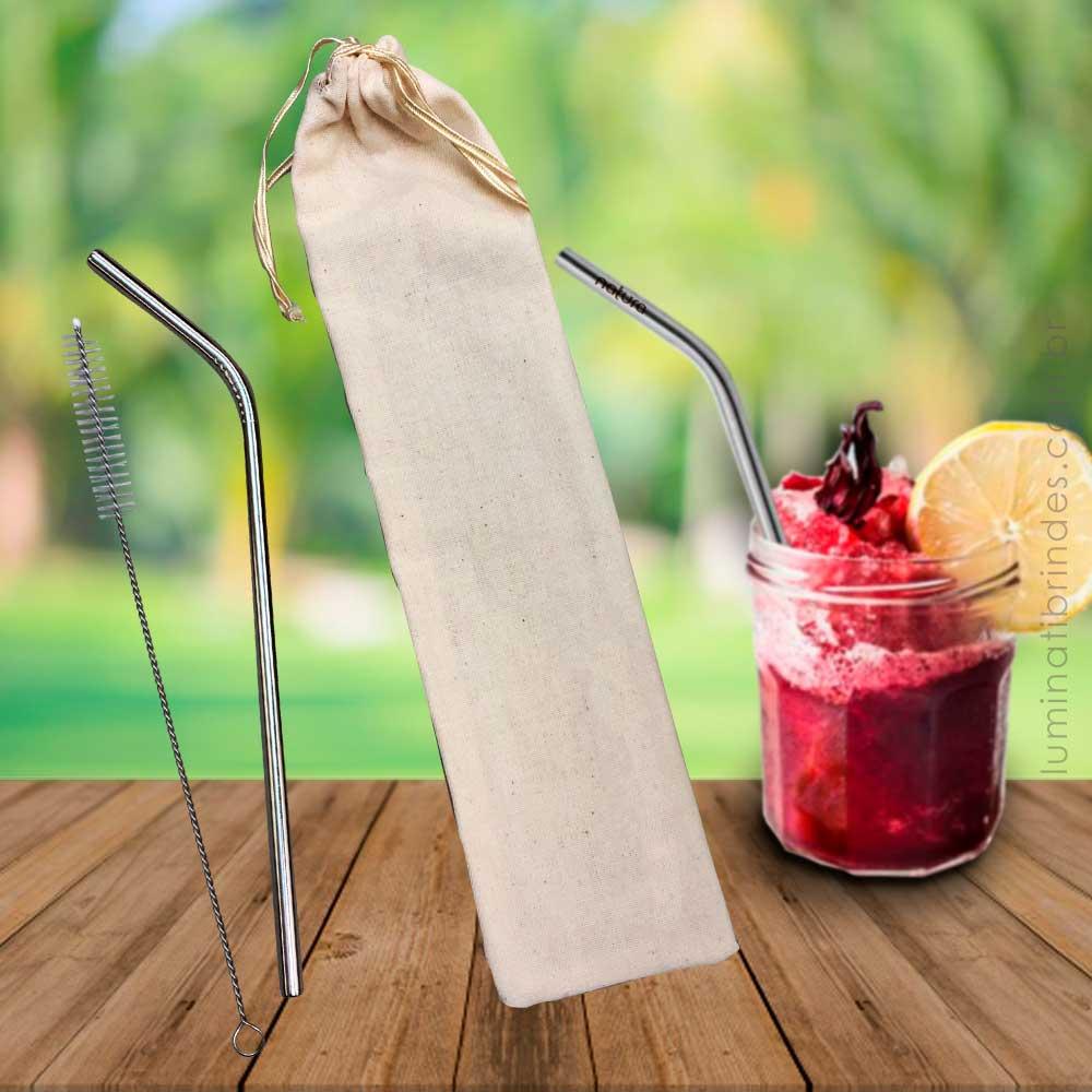 Kit Canudo Inox Com Escova e Sacola Para Brinde